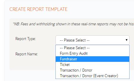 how to create a custom report template gofundraise customer care